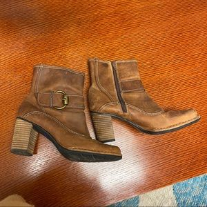 Indigo Clark's brown leather buckle ankle boots